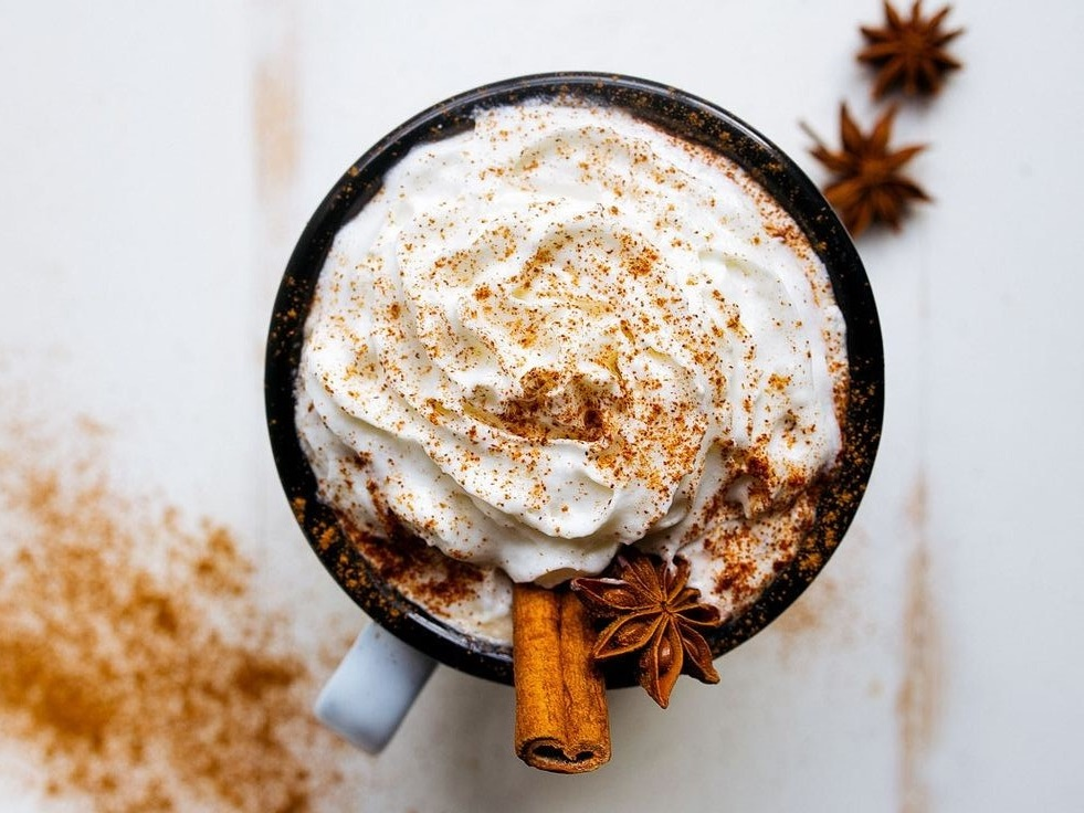 Decadent hot chocolate with cinnamon and cream