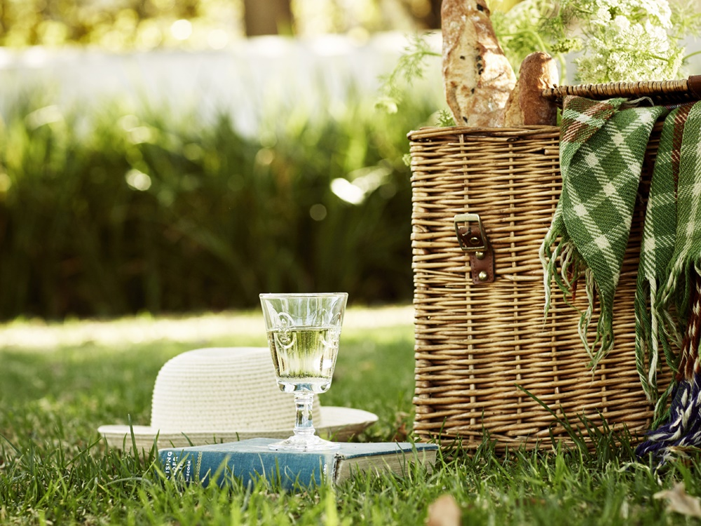 Picnic basket prepared by Nederburg in the winelands on a grassy lawn